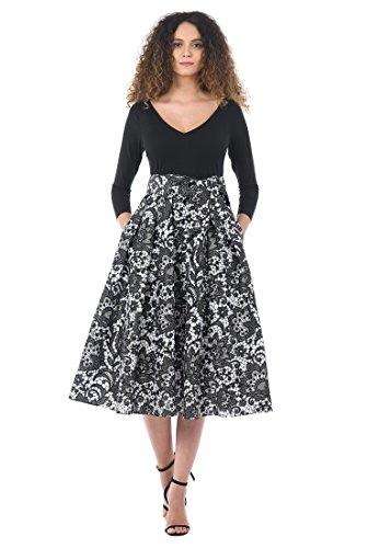 mixed print dress - 8