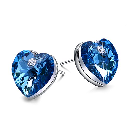 Valentines Day Gifts for Women NEEMODA Sapphire Blue Crystal Stud Earrings for Women Heart Fashion Jewelry Gifts for Her Birthday Anniversary Valentines Day