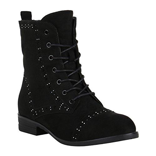02403fb36de810 Stiefelparadies Damen Stiefeletten Worker Boots Spitze Stiefel Schuhe  Flandell Schwarz Strass Strass
