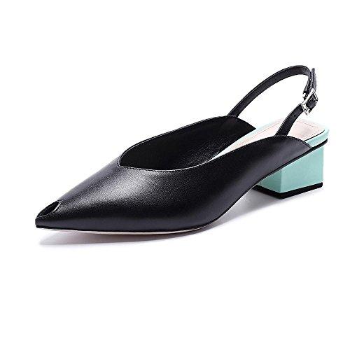 de Gruesa Zapatillas Sandalias Zapatos y Cuero Verano Casuales GJDE Black con nSw07qYtt