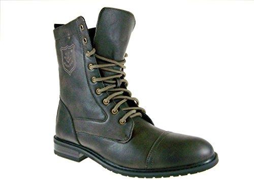 Polar Fox Men's 801026 Calf High Military Lace Up Combat Boots, Brown, 13