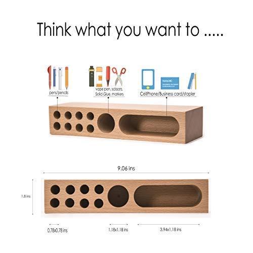 soporte de tel/éfono m/óvil Caja de almacenamiento de escritorio de madera maciza para bol/ígrafos soporte de madera para bol/ígrafos sala de estar suministros de oficina