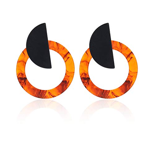 AIGE-Store Geometric Acrylic Stud Earrings with Swirl In Round And Semi Round