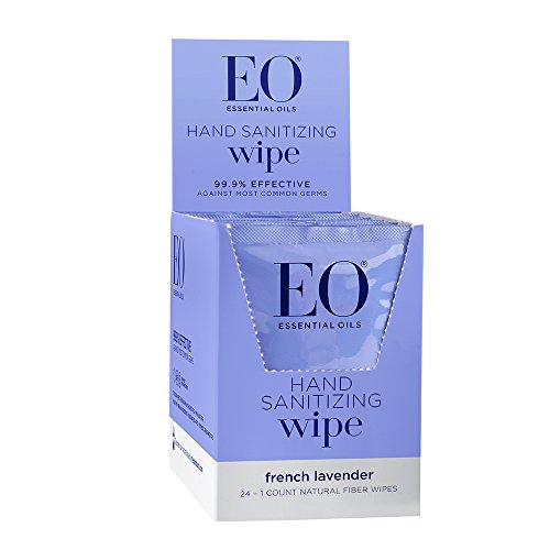 Organic Lavender Sanitizing Wipes - EO Sanitizing Hand Wipes, Organic Lavender, Biodegradable, 24-Count Boxes (Pack of 2)
