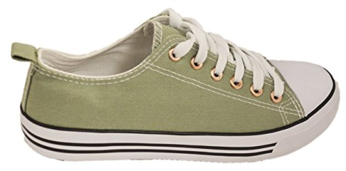 Olive Canvas Footwear - Shop Pretty Girl Women's Sneakers Casual Canvas Shoes Solid Colors Low Top Lace up Flat Fashion 2.0 (7, Light Olive)