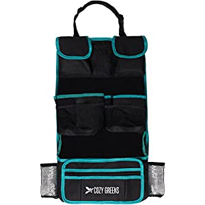 Car Organizer for Back Seat | Eco-Friendly & Strong | Kick Mat Protects Backseat | FREE Kids eBook | Storage for Toys, Travel Accessories, Phone & Tablet | Baby Shower Gift Box