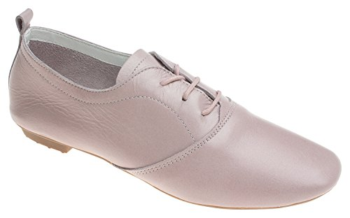 AnnaKastle Womens Soft Leather Lace Up Oxford Flat Shoes Pale Pink