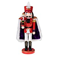 """Clever Creations Red Prince Wooden Nutcracker Wearing Purple Cape Holding Toy Nutcracker Gift 