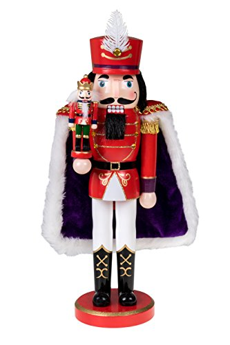"Clever Creations Red Prince Wooden Nutcracker Wearing Purple Cape Holding Toy Nutcracker Gift | Festive Decor | Perfect for Shelves and Tables | 100% Wood | 14"" Tall from Clever Creations"