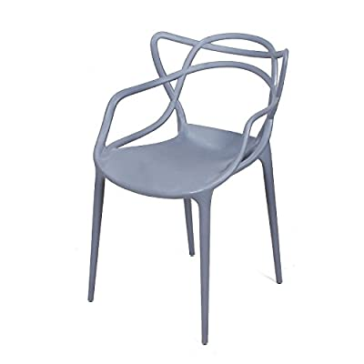 "Adeco Polypropylene Hard Plastic Dining Chairs, Intertwine Living Dining Room Set of 2, Grey - Total Dimensions: 21.85*21.65*33 ""; Height of seat: 19"" Chairs are stackable for easy storage; Easy cleaning Suitable for use indoor or outdoor - kitchen-dining-room-furniture, kitchen-dining-room, kitchen-dining-room-chairs - 41VDkFc%2BfKL. SS400  -"