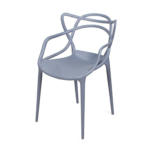 Adeco Polypropylene Hard Plastic Dining Chairs, Intertwine Living Dining Room Set of 2, Grey, D-Grey