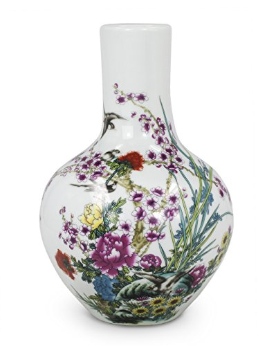 Dahlia Blossoming Flowers Famille Rose Porcelain Flower Vase, 9 Inch Globular - Vase Porcelain Rose