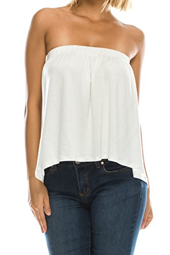 18491093099 Jubilee Couture Womens High Low Flared Bottom Drapey Flowy Tube Top Blouse  Made in USA