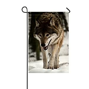 RH Studio Garden Flag Wolf Predator Snow Walk 12x18 Inches(without Flagpole)