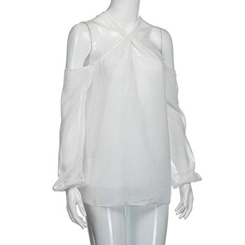 ESAILQ Las mujeres forman la raya de la manga de la blusa del collar redondo de la manga larga atractiva Tops de las camisetas blanco