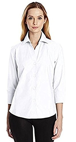 Foxcroft NYC Womens Pinpoint Oxford Shirt Non-Iron Stretch Poplin Blouse (XX-Large, White) (Pinpoint 3/4 Shirt Sleeve)