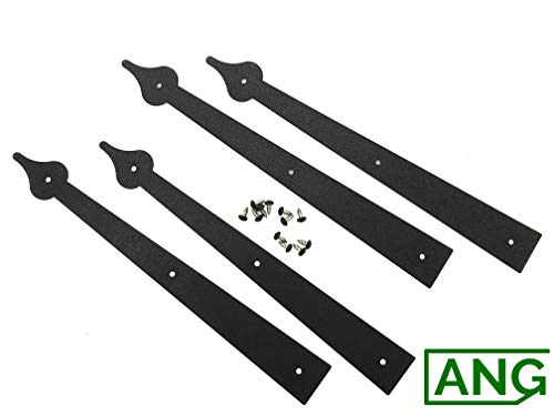 Set of 4 Decorative Carriage House Garage Door Hinges-Spear End by Carriage ()