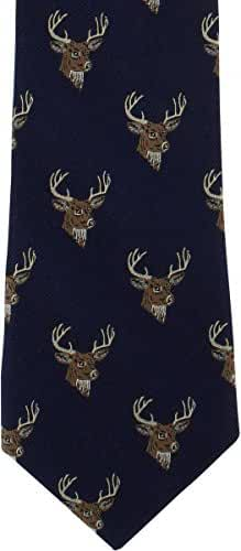 Navy Deer Silk Tie by Michelsons of London