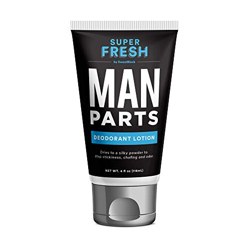 Super Fresh Man Parts Ball Deodorant for Men by SweatBlock. Talc-Free Hygiene lotion-to-powder cream for fresh balls & body. Stops stickiness and odor, 4 fl oz tube
