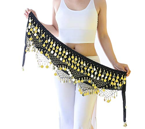 Gypsy Skirt for Women Hip Scarf with Gold Coins Black Belly Dancer Belt Scarf Wrap