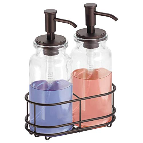 mDesign Double Liquid Hand Soap Glass Dispenser Pump Bottle Caddy for Kitchen Sink, Bathroom Vanity Countertops - Holds Castile Soap, Dish Soap, Hand Sanitizer, Essential Oils - Clear/Bronze