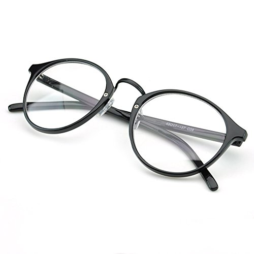 PenSee Vintage Inspired Eyeglasses Frame Round Circle Clear Lens Glasses - Round Eyeglass Shaped For Face