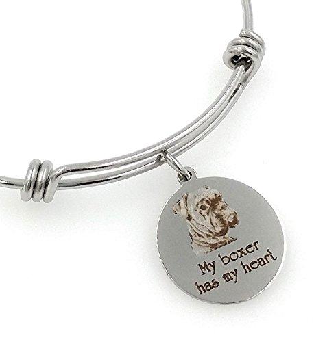 My Boxer Has My Heart Engraved Expandable Bangle Bracelet, Natural Ears ()