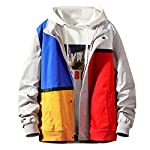 SoeHir Mens New Autumn&Winter Fashion Coat Color Stitching Hoodie Large-Size Warm Jacket Top