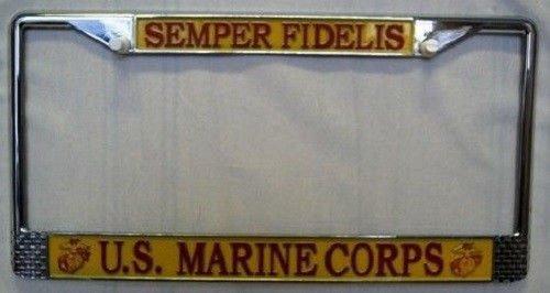 Semper Fi Fidelis USMC Marines Marine Corps License Plate Tag Frame Holder