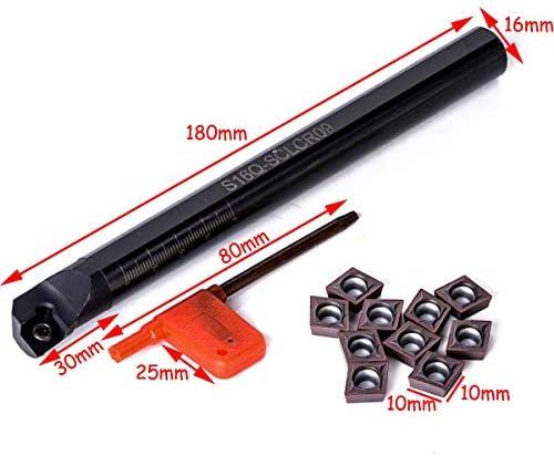 NO LOGO ZDX-CHEXIAODJ, 1 stück S16Q-SCLCR09 Bohrstange 16mm Schaft Drehwerkzeughalter + 10 stücke CCMT09T3 Stahleinsätze + T15 Schraubenschlüssel