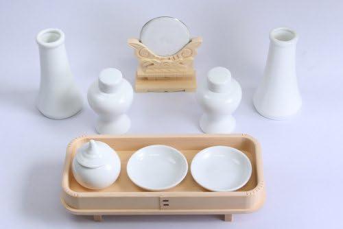 高級神具一式「神具セット(中)+木曽桧長三宝+神鏡」