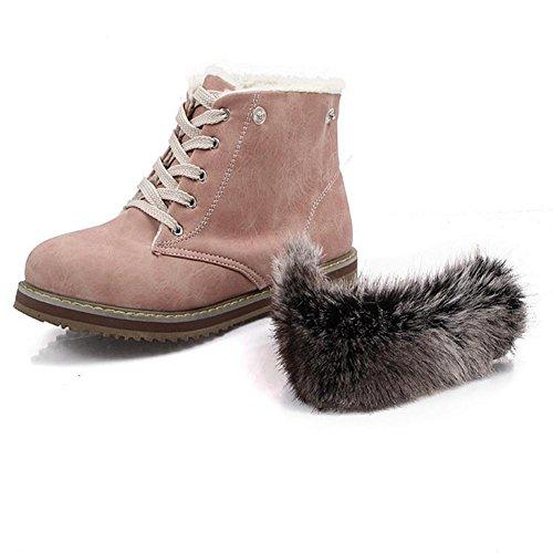 extraíble resistencia botas 39 Skid piel otoño de H nieve de azul collar invierno delantera Rosa Pink Beige HMujeres correa desgaste e de XIAOGANG goma baja talón 4wOZqBn