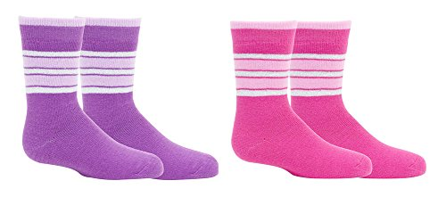 2 Pack Best New Pink Purple Stripe Ski Skiing Fun Warm Sport Thick Thermal Crew Sock Unique Cute Summer Gift Idea Under 20 Dollars for Young Teen Girl 2019
