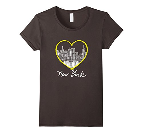 Women's Love New York Big Apple Empire State Skyline Art ...