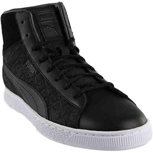 a9e045676b PUMA Men's Suede Classic Mid Quilt Sneaker, Black Black, 9.5 M US ...