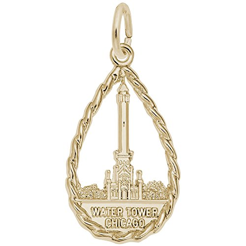 (Gold Plated Water Tower, Chicago Charm, Charms for Bracelets and Necklaces)