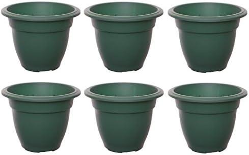 6 macetas grandes y redondas de plástico para jardín, 30 cm, color verde: Amazon.es: Jardín
