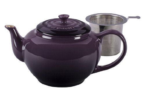 Le Creuset Stoneware Large Teapot with Stainless Steel Infuser, Cassis](Stovetop Purple Tea Kettle)