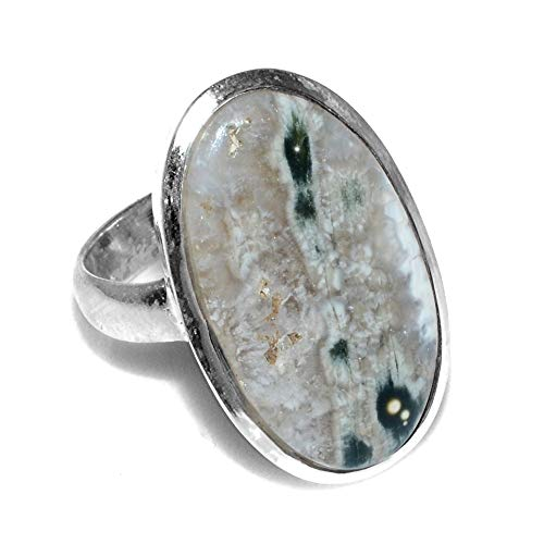 Silver Palace 925 Sterling Silver Natural Ocean Jasper Ring for Womens and Girls ()