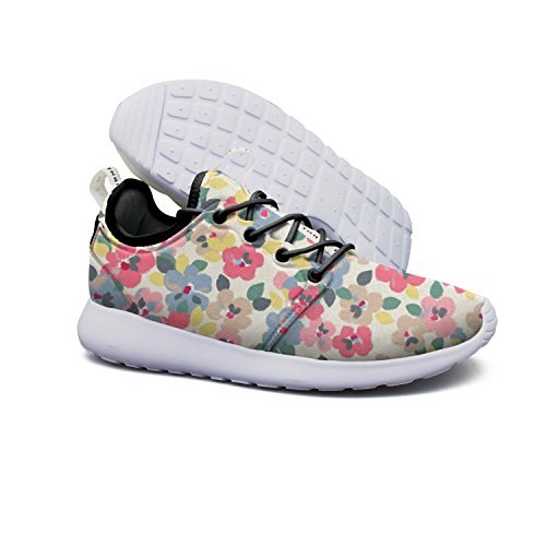 Lightweight Shoe Spring With Colourful Pansies Breathable Mesh Design Running (Colourful Bouquet)