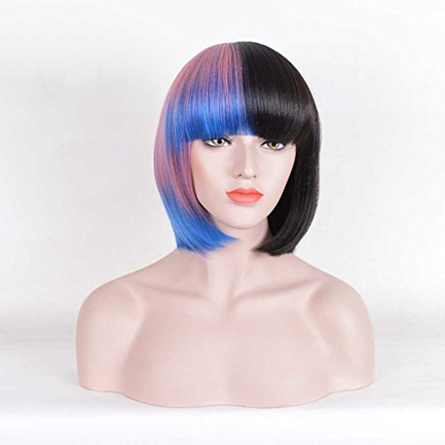 Hairpieces Short Hair Straight Hair Wig Europe and America Colorblock Halloween Female (Color : Black, Size : 40CM/16inch) ()