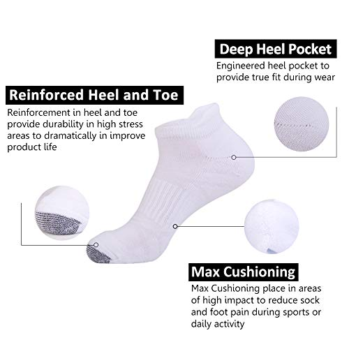 Mens Ankle Athletic Socks with Performance Cushion Tab for Sports Running 6Pack by JOYNÉE (Image #1)