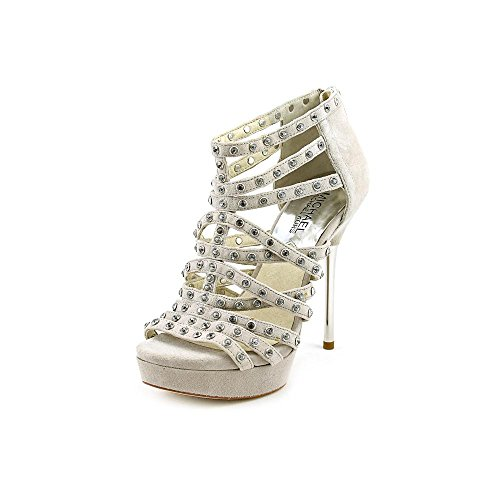 (MICHAEL Michael Kors Maddie Studded T-Strap Women's Sandals in Pearl Grey (7.5 M))
