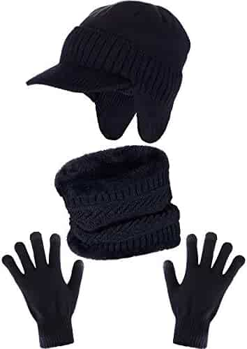 Zhehao 3 Pieces Warm Winter Set Includes Knitted Earflaps Hat Neck Warmer  Hat Scarf Full Finger 38c5efb1e187