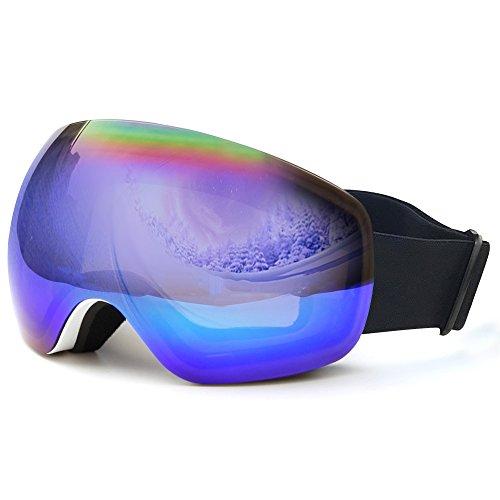 HesVap Fashion Performance Ski Snowboard Goggles -PRO Frameless Spherical,100% UV400 Full Protection, Antifog Interchangeable REVO Mirror Lenses for Men & - Protection 100 Uv400