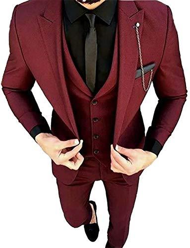 Mens 3 Piece Tuxedos Slim Fit Peaked Lapel Wedding Suit Dinner Blazer Jacket Pants Vest Set Burgundy ()
