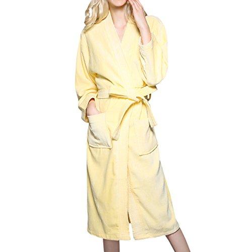 Belted Terry Belt - LAPAYA Women's Turkish Kimono Robes Long Sleeve Cotton Spa Terry Cloth Bathrobes, Yellow, Small