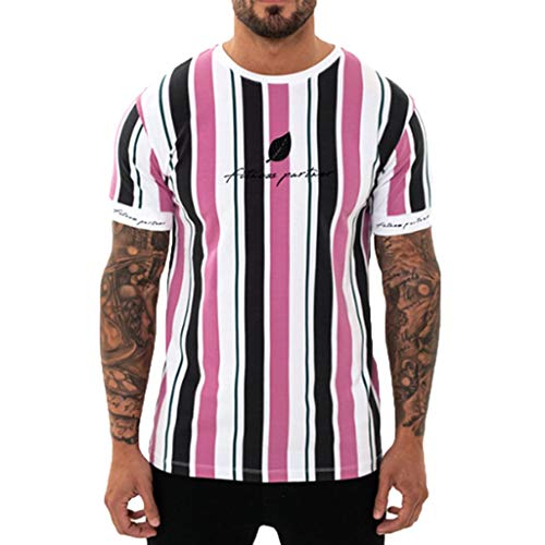 Men's Slim-Fit Short-Sleeve T-Shirt Athletic O-Neck Letter Printing Baseball Top Shirts Tee Pink