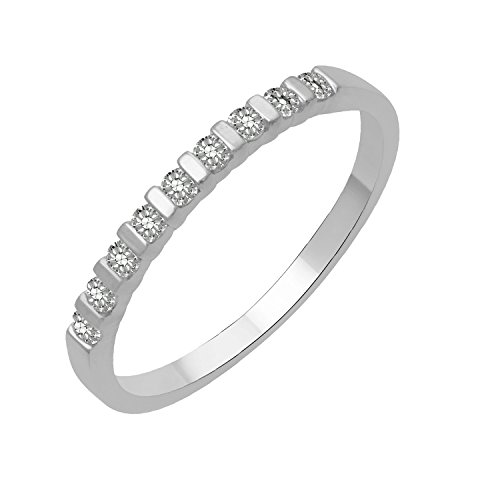 Bar Channel Diamond Band - 10k White Gold Round Diamond Bar Set Wedding Ring Band (0.17 Carat)