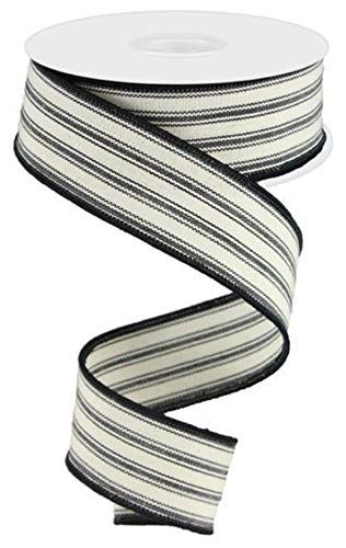 Ticking Stripe Wired Edge Ribbon - 10 Yards (Beige, Black, 1.5